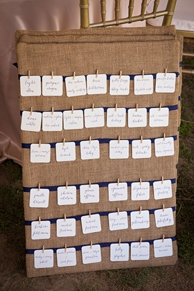 Burlap seating chart for rustic wedding miniature clothespin details on ivory cards