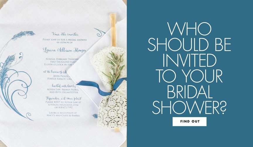 who should be on the guest list for your bridal shower, bridal shower invitation
