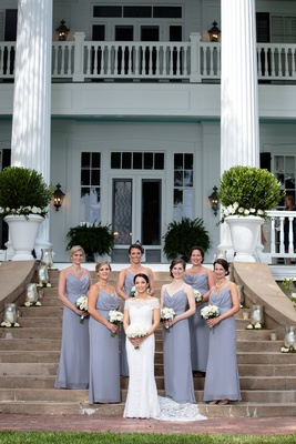 bride in lace, off-the-shoulder Anna Maier and bridesmaids in grey jim hjelm