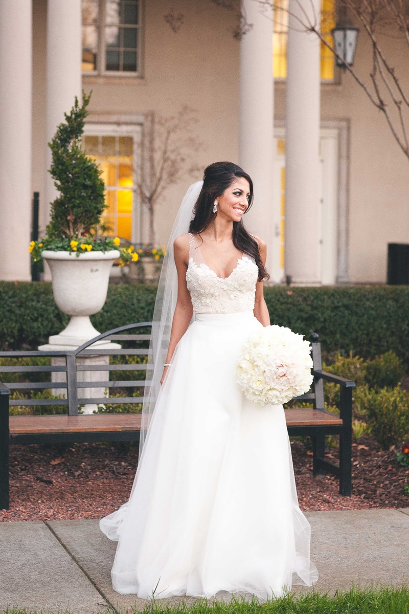 183d4e812e8 Wedding Dresses Photos - Floral Appliquéd Bodice with Skirt - Inside  Weddings