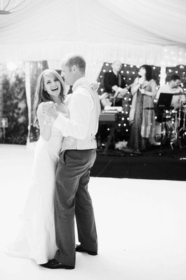 Black and white photo of first dance in Lake Como