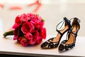 hot pink fuchsia bouquet rose bougainvillea black flower shoes