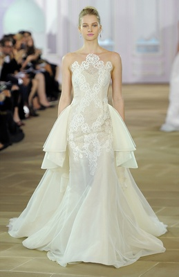 Sleeveless illusion Silk Organza trumpet gown with Alençon lace, cross hatch detail and detachable O