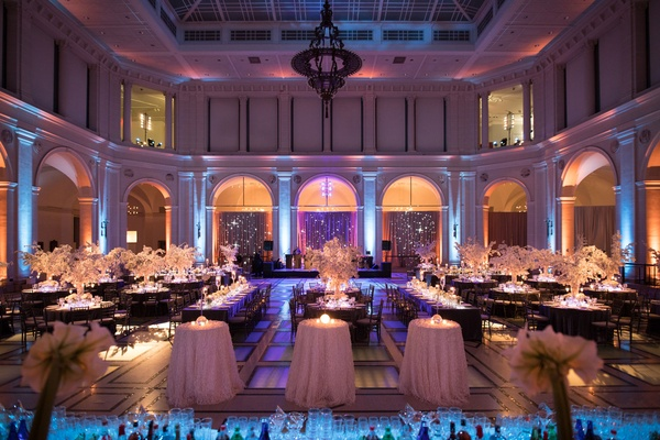 Ballroom wedding blue purple pink lighting winter theme white silver decor wedding reception