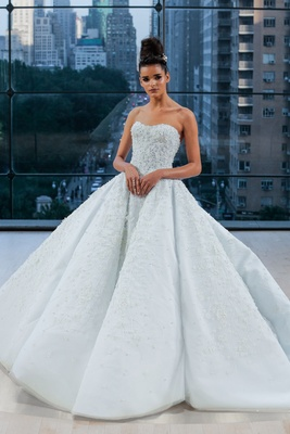 """Tiffany"" Ines Di Santo fall 2018 light blue wedding dress ball gown with cathedral train strapless"