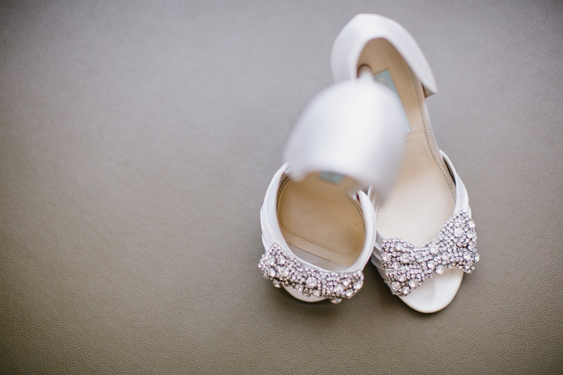 Betsey Johnson white bridal shoes with rhinestone bow