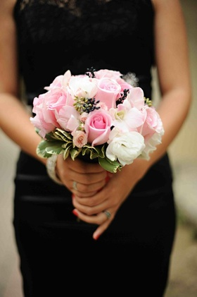 Black bridesmaid dress with pale pink flowers