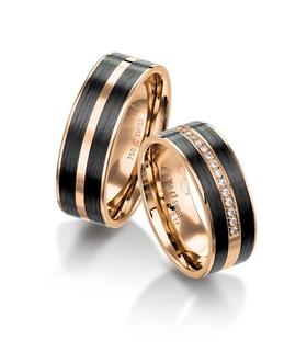 Furrer Jacot 61-53160 rose gold carbon fiber wedding band