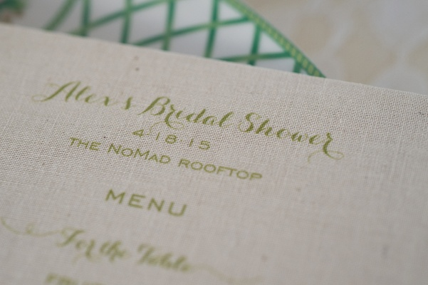 bridal shower menu green calligraphy burlap new york city food The NoMad Hotel