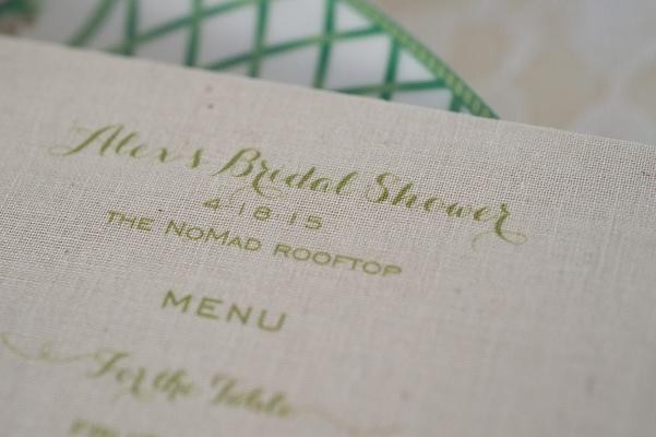 bridal shower menu green calligraphy burlap new york city food The NoMad Hotel