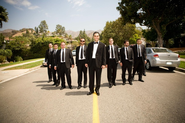 Armenian groom and friends in black tuxedos