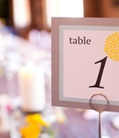 Wedding table number with yellow billy ball design