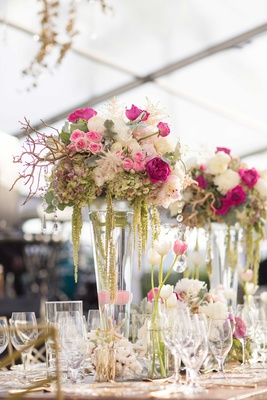 Destination wedding centerpiece ideas tulip, amaranthus, rose, garden rose, peony, starfish, coral