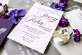 wedding invitation purple script silver grey envelope white calligraphy elegant simple sophisticated