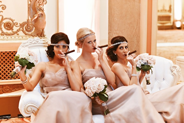 Sparkling vintage-inspired headbands and cigars