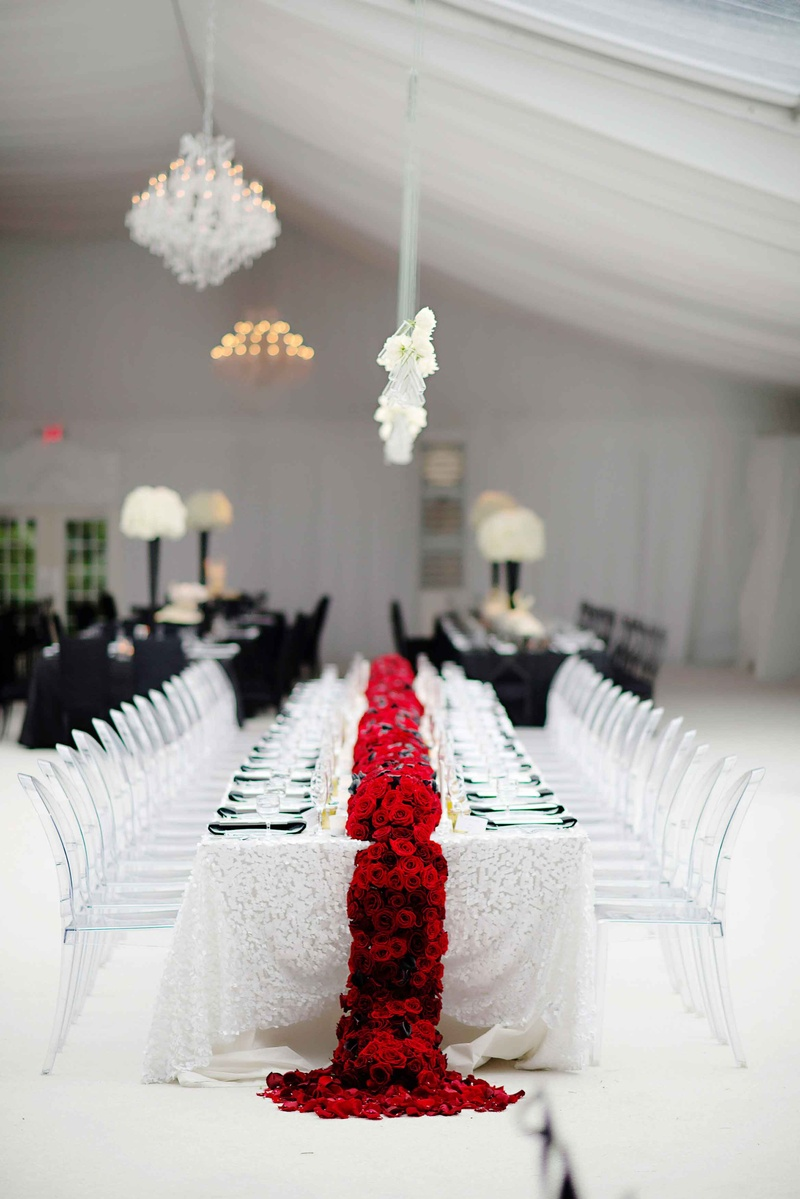 Reception dcor photos black white red wedding table inside white wedding table linen with red flower runner and clear chairs mightylinksfo