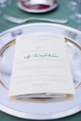 Personalized wedding menu card with green calligraphy