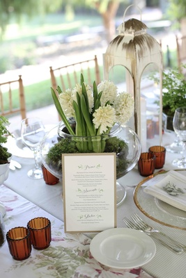 Menu card on display at garden table with lantern