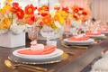 Bridal shower head table wood with white china pink napkin favors poppy centerpiece orange yellow