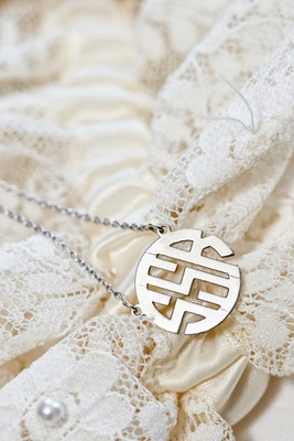 SSR circle monogram necklace on chain for bride on wedding day gift idea