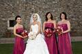 Dark pink strapless bridesmaid dresses with black sash