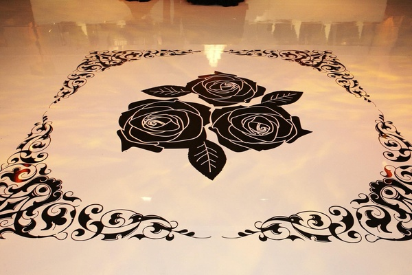 Rose wedding dance floor decal with scroll design