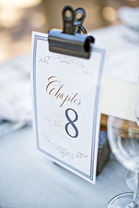 Wedding reception table number idea book theme chapter table number with clip