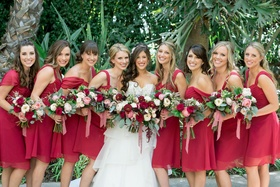 bridesmaids in ruby alfred angelo made to love bridesmaid dresses, bride in alfred angelo gown