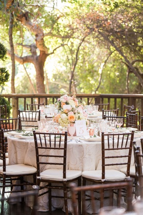 wedding reception wood chair white cushion low centerpiece pink peach flowers goblets glassware tree