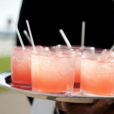 Pink-orange tray-passed refreshing drinks