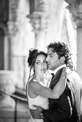 black and white photo of bride and groom destination wedding in palm beach dramatic portrait