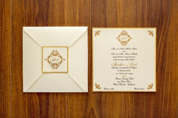 Ivory invite and envelope with golden border