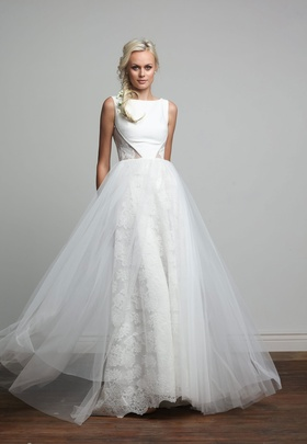 Joy Collection Barbara Kavchok Melody wedding dress crepe bateau necklne a line gown