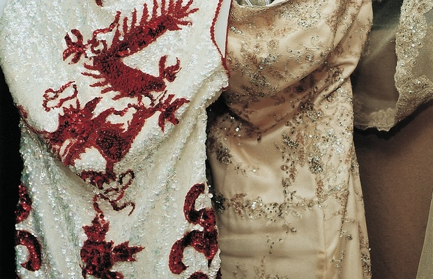 Chinese dragon beaded dress and evening gown