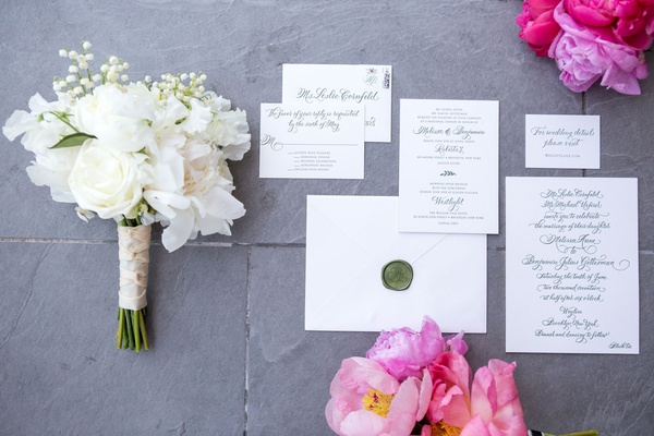 White wedding invitation suite with green wax seal monogram green calligraphy simple black tie