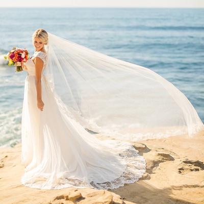 veil flowing wind bride rocks over ocean seaside chapel length la jolla california wedding