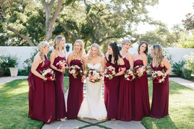 bridesmaids in jenny yoo burgundy dresses, pregnant bridesmaid, bride in oscar de la renta