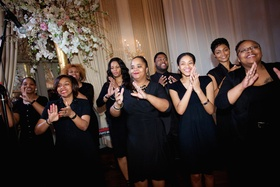Gospel choir sings recessional song at a Jewish wedding, The Standard Club, Chicago