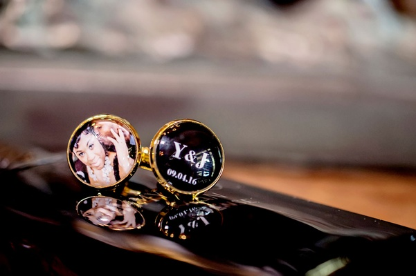 Groom cuff links gold with one featuring initials and wedding date and one with engagement photo