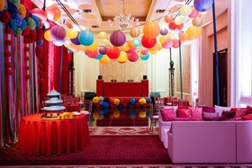 Chinese culture theme club-like after party with paper lanterns and vibrant decor