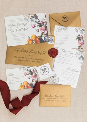 flower fruit invitation suite florida wedding bride groom calligraphy ribbon gold red pictures