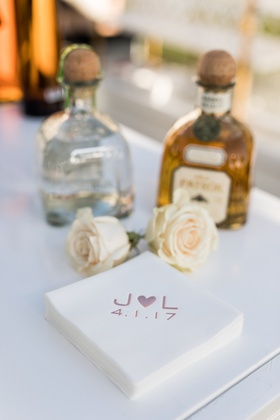 wedding bar patron tequila blano and gold with beverage napkins initial heart design wedding date