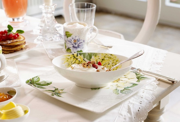 Villeroy   Boch Quinsai Garden bowl and plate with colorful floral detailing. Pre Wedding Brunch  Spring Awakening Line from Villeroy   Boch