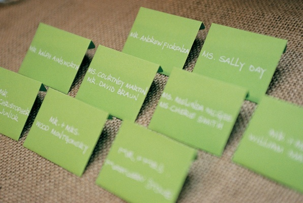 Simple seating card with white lettering