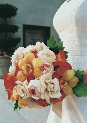 Red and orange floral bouquet
