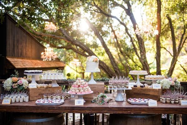 wedding reception dessert table small wedding cake cupcakes parfait macaron sweets table