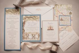 Wedding invitation invite momental designs paper goods blue green tree hand painted pretty details