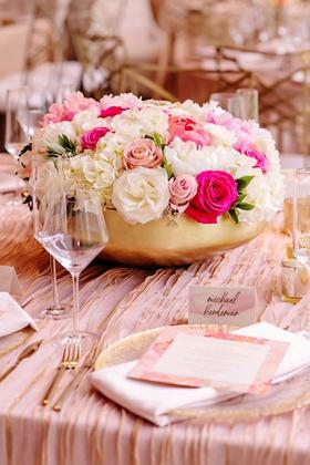 wedding reception gold bowl white blush hot pink flower centerpiece textured linen watercolor card