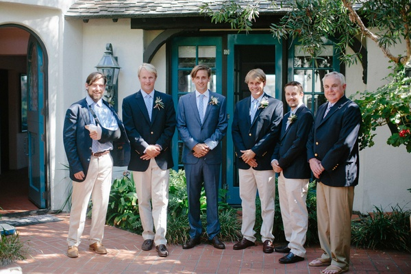 groom groomsmen blue white jackets suits broken arm light pants oceanside california beach wedding