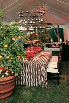 Tented reception with candle chandeliers